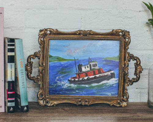Sea Spray Acrylic Tug Boat Painting