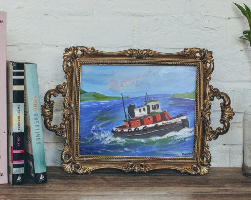 Sea Spray Acrylic Tug Boat Painting