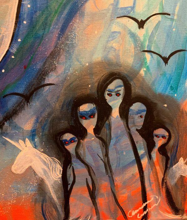 unicorn and dark beings art by cassondra eastham