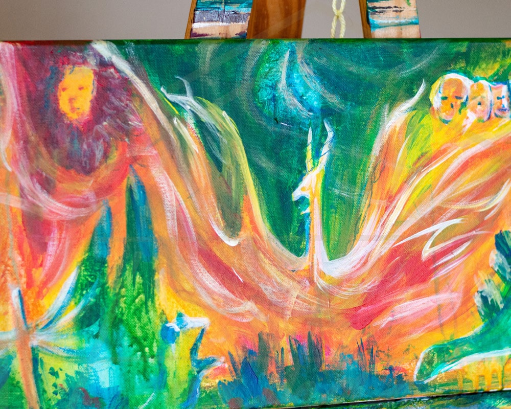 Up in Flames painting by Cassondra Eastham, artist