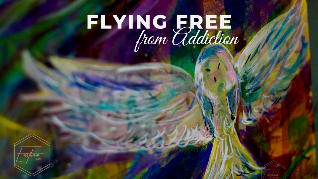 Flying free from addiction owl painting